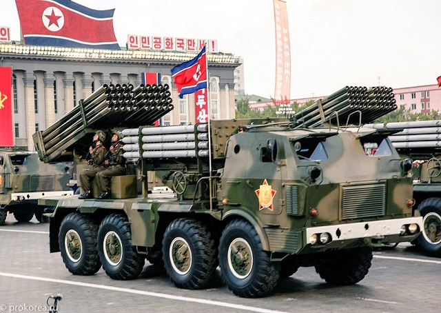 North Korea has purchased second-hand 122mm MLRS which seems to be RM-70 designed and manufactured by Czech Republic. The RM-70 is armed with a rack of 40 x 122mm rocket tubes fitted to a traversing/elevating platform mounted at the rear of a Tatra 813 8x8 truck chassis.