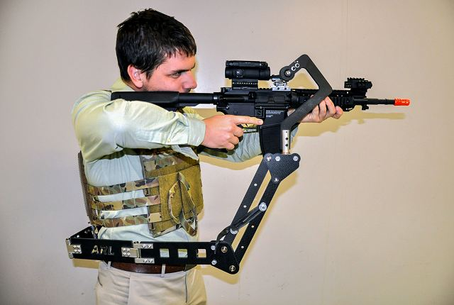 "The U.S. Army Research Laboratory has developed the ""Third Arm"" device which can be attached to the protective vest of soldiers that will hold their weapon, lessening the weight on their arms and freeing up their hands for other tasks."