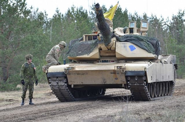 U.S. Army soldiers from Company C (Chaos), 1st Battalion, 68th Armor Regiment, 3rd Armored Brigade Combat Team, 4th Infantry Division, Fort Carson, Colo., conducted their last platoon live-fire exercise with M1A2 Abrams main battle tanks in Adazi Military Base, Latvia, April 14.