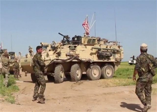 According to many international news websites, U.S. soldiers with Stryker combat armoured vehicles are deployed to Syria's northeast border with Turkey to prevent an escalation of fighting between the Turkish forces and Kurdish militia units.