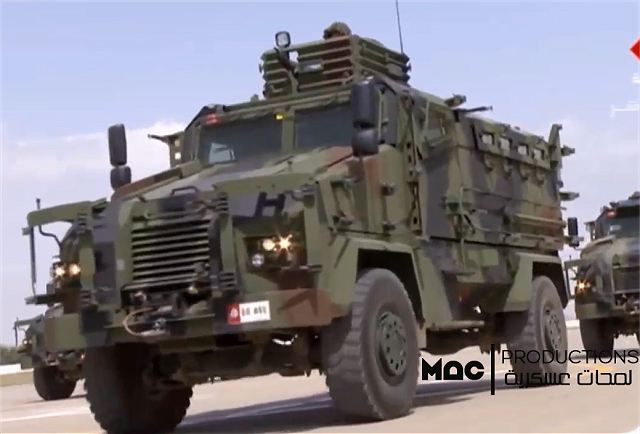 During the military parade for the 61st anniversary of the Tunisian National Army that was held June 30, 2017, armed forces of Tunisia presented latest acquisition of combat equipment and armored vehicles including the Bastion, Ejder 4x4 armoured vehicles and Kirpi and Typhoon MRAP vehicles.