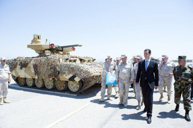 According the Russian website Russia Beyond The Headlines, the BMPT-72 also called Terminator 2 fire support tracked vehicle has been tested in Syria. On June 27, 2017, Syrian President Bashar al-Assad visited the Khmeimim Russian base, where the BMP-72 was presented.