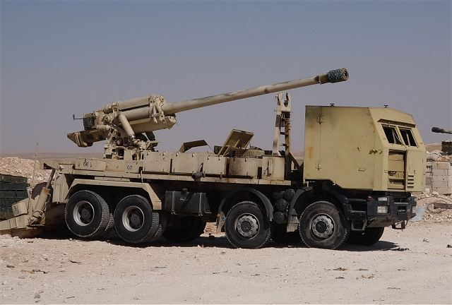 The Syrian military forces against Daesh uses their own technology to manufacture wheeled self propelled howitzer using the Soviet-made 130mm towed field gun M-46 as main armament mounted at the rear of 8x8 civilian truck chassis.