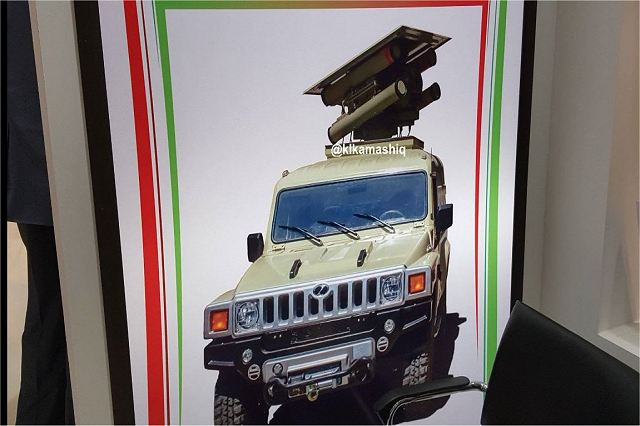 At the Defense Exhibition IQDEX 2017 that was held in Baghdad (Iraq) from the 5 to 7 March 2017, the Iranian Defense Industry has unveiled the Pirooz, a new antitank guided missile platform integrated on a Chinese 4x4 tactical vehicle.