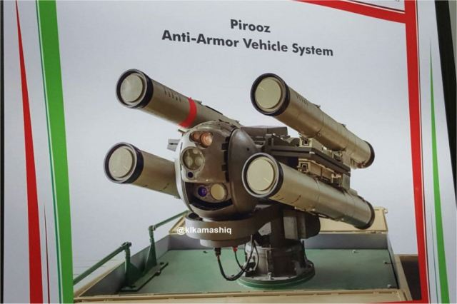At the Defense Exhibition IQDEX 2017 that was held in Baghdad (Iraq) from the 5 to 7 March 2017, the Iranian Defense Industry has unveiled the Pirooz, a new anti-tank guided missile (ATGM) platform integrated on a Chinese 4x4 tactical vehicle.