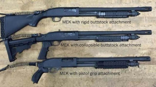 The MEK is a ballistic breaching tool—or what Marines use to safely shoot the locks off of doors. It is designed to augment the M500A2 pump-action shotguns currently used by Marine reconnaissance, security forces, military police, explosive ordnance disposal and special operations units.