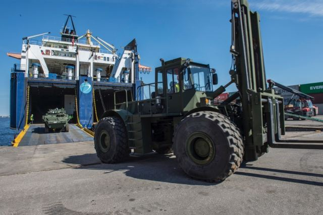 Canadian military equipment in support of Operation REASSURANCE arrived in the Port of Riga, Latvia, today as preparations continue for the June deployment of the multinational battlegroup as part of NATO's enhanced Forward Presence in Latvia.