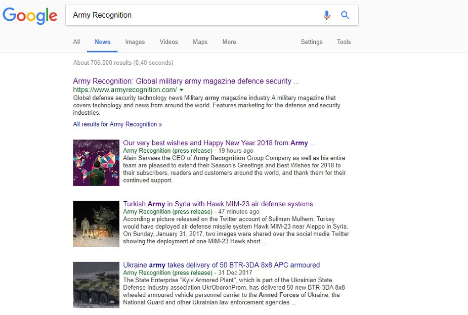 Army Recognition defense security magazine now listed on Google News 925 001