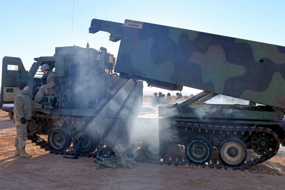 U.S. 1 147th Field Artillery Battalion conducts live fire rocket exercises