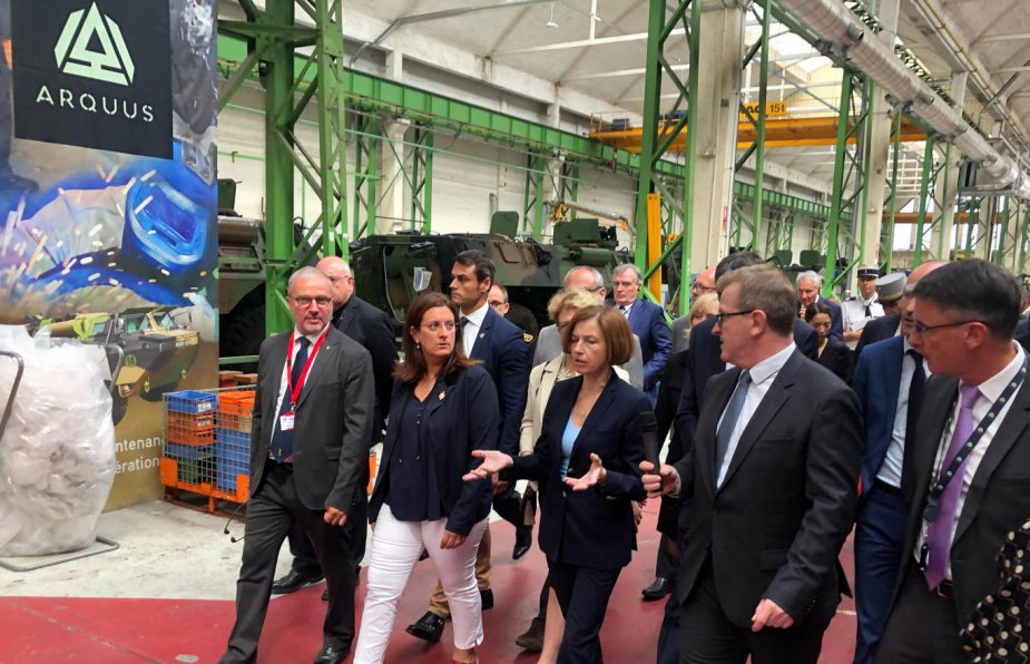 French Defense minister Parly visits logistical platform of Scorpion programme at Fourchambault