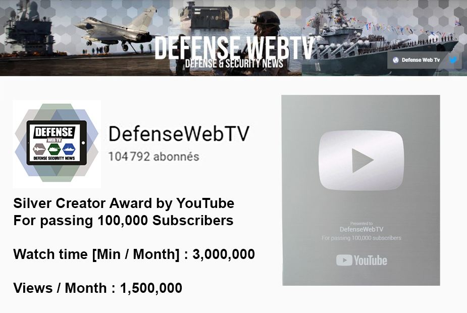 YouTube Silver Award for Defense Web TV 100000 subscribers 925 001