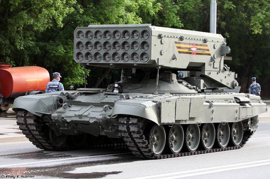 TOS 1A flamethrower MLRS Multiple Launch Rocket System Russia Victory Day military parade 2020 925 001