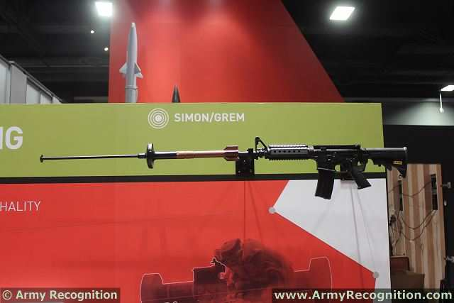 SIMON rifle launched grenade is a stand-off & surprise-attack type weapon; it replaces older breaching methods, which involved loss of surprise and the risking of assault troops to directly attack doors by mechanical means or by attaching explosive charges.