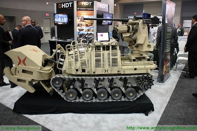 Micro-utility vehicle robot fire support variant with M2 machine gun HDT Global AUSA 2015 640 001