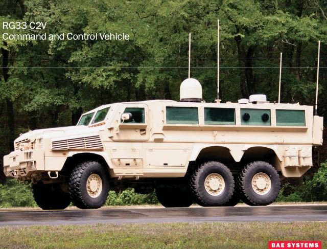 RG33 RG-33 C2V command control MRAP vehicle data sheet specifications information description intelligence identification pictures photos images US Army United States American defense military BAE Systems
