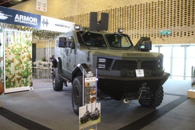 Armor International exhibits its Hunter TR12 multi purpose tactical vehicle  at Expodefensa 640 001