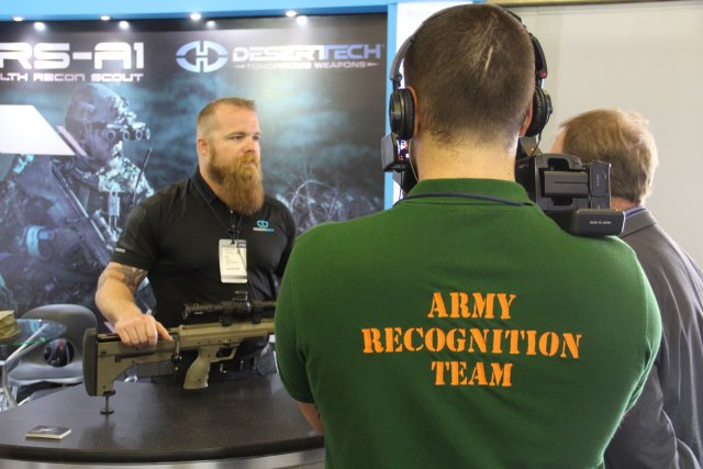 Desert Tech presents its DT SRS A1 sniper rifle during Expodefensa 2015 640 002