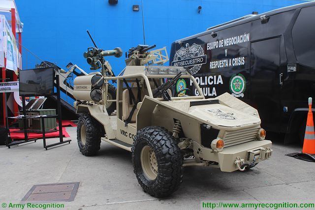At ExpoDefensa 2015, Maintenance battalion of the Colombian Armed Forces showcases its new light reconnaissance vehicle VRC Cobra (Vehiculo de Reconocimiento de Combate - Reconnaissance Combat Vehicle) especially dedicated to be used in extreme and all-terrain conditions.
