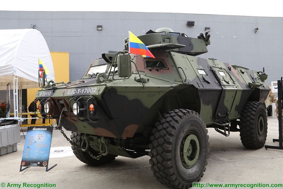 Colombian army presents Pegaso 4x4 APC armoured at ExpoDefensa 2017 defense exhibition Bogota Colombia 925 001