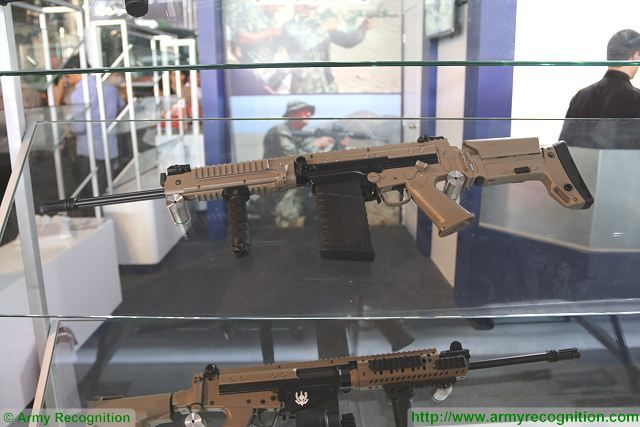 SA58 CTC Compact Tactical Carbine of DS Arms at SITDEF 2017, the International Defense Exhibition in Lima, Peru.